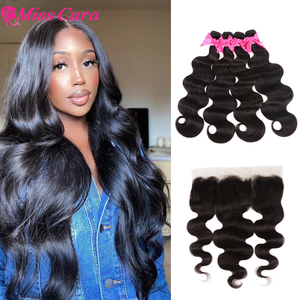 Image 1 - Peruvian Body Wave Bundles With Frontal 100% Human Hair 3/4 Bundles With Frontal Miss Cara Remy Hair Bundles With Frontal