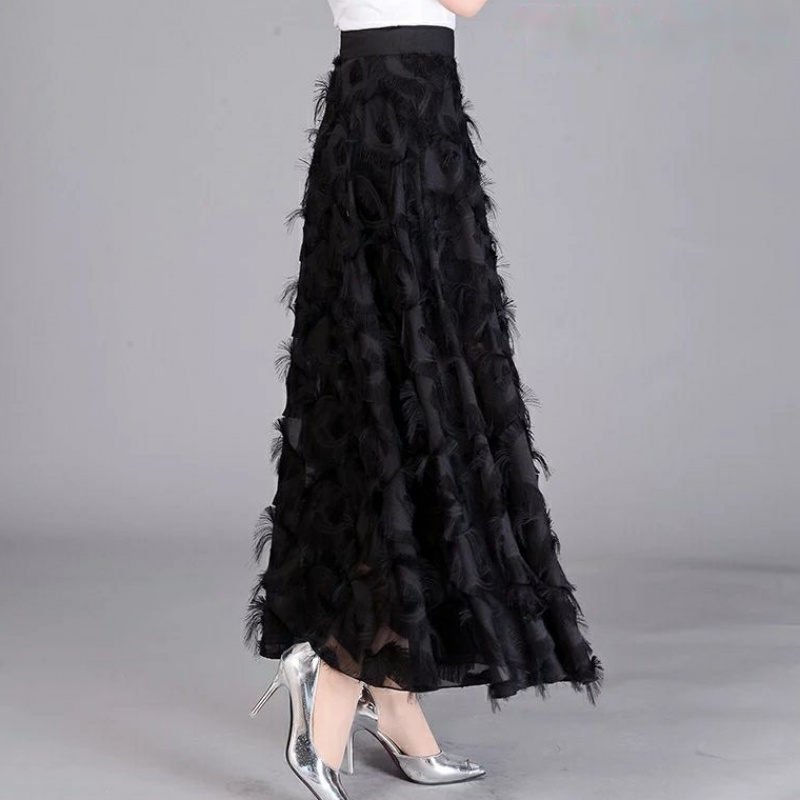 Long Tulle Skirt Women 2020 Spring Summer Tassel Korean Elegant High Waist A-line Pleated School Midi Skirt Female