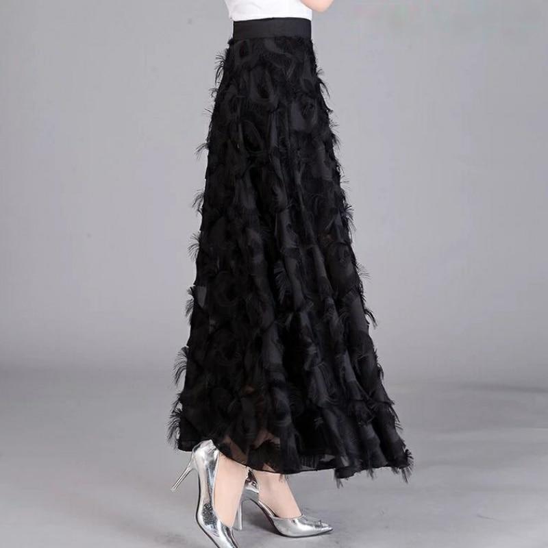 Long Tulle Skirt Women 2020 Spring Summer Tassel Korean Elegant High Waist A-line Pleated School Midi Skirt Female