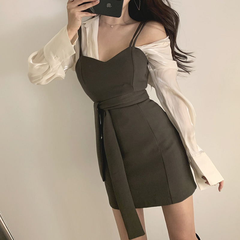 Two Piece Dress Spaghetti Strap Sexy v Neck Bodycon Mini Summer Party Black Korean Short Green Formal Women Elegant Silk Shirt