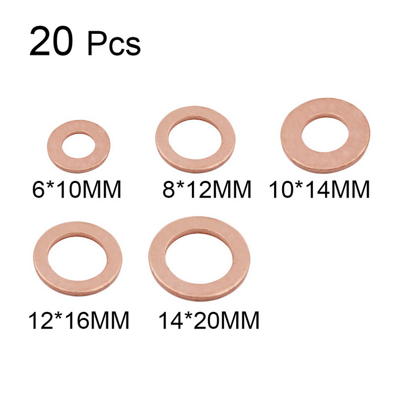 Solid Copper Washer Flat Ring Gasket Sump Plug Oil For Boat Crush Gasket Seal Fittings Fastener Hardware Tool Accessories 20Pcs