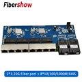 Гигабитный Ethernet-коммутатор волоконно-оптический медиа конвертер PCBA 8 RJ45 UTP 2 SC волокно Порты и разъёмы 10/100/1000M печатной платы