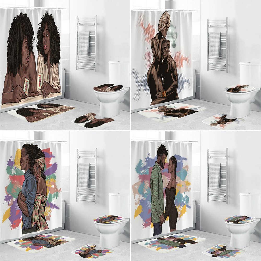 african american women shower curtain set bath mats rugs black couple art lover bathroom curtains anti slip carpet toilet cover