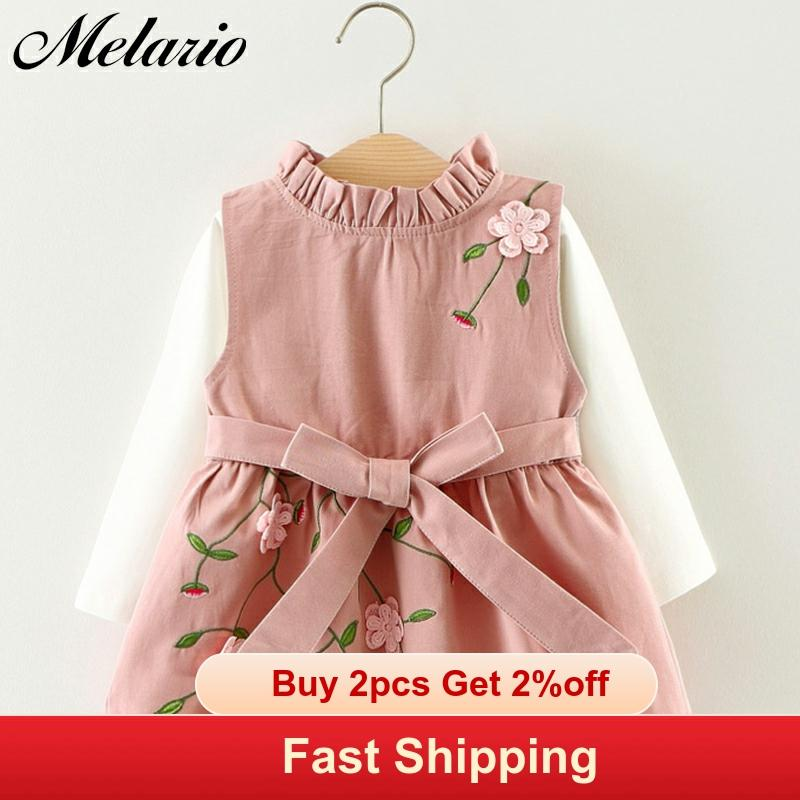 New Embroidery Baby Clothing Sets Spring Autumn 2pcs Baby Girls Clothes Printing Girls Party Dress Princess Dress Newborn Dress