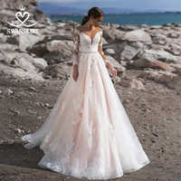 Elegante Lange Hülse Spitze Hochzeit Kleid Swanskirt N135 Mode Tiefe V-ausschnitt Perlen Prinzessin Braut Kleid Robe De Mariage