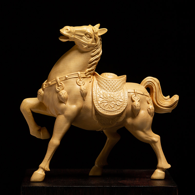 Exquisite Chinese Fengshui Brass Success Animal Zodiac 3 Horse Horses Statue
