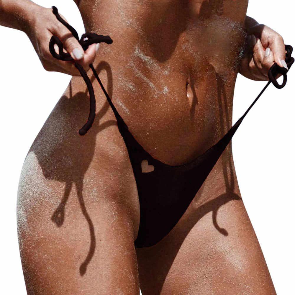 TELOTUNY Wanita Pakaian Renang Brasil Nakal Bikini Sisi Bawah Dasi Thong Mandi Baju Renang Pakaian Renang Menyatu Renang Bikini
