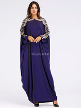 Loose Moslim Abaya Dubai 2018 New Style Sequins Blue Muslim Long Sleeve Floor Dress Kaftan Islamic Maxi Dresses Robe(China)