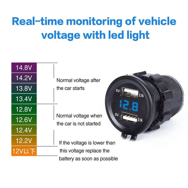 Double USB voiture allume-cigare chargeur de voiture voiture moto chargeur LED affichage chargeur voiture prise adaptateur moto chargeur