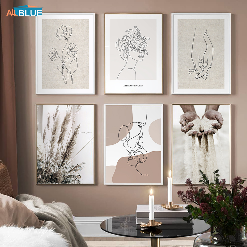 Богемная абстрактная фигурка линия цветок лицо плакат настенная живопись картина домашний интерьер украшение холст для гостиной Декор