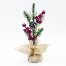 Рождественские искусственные сосновые ветки конус ягоды украшение бонсай стол DIY Декор