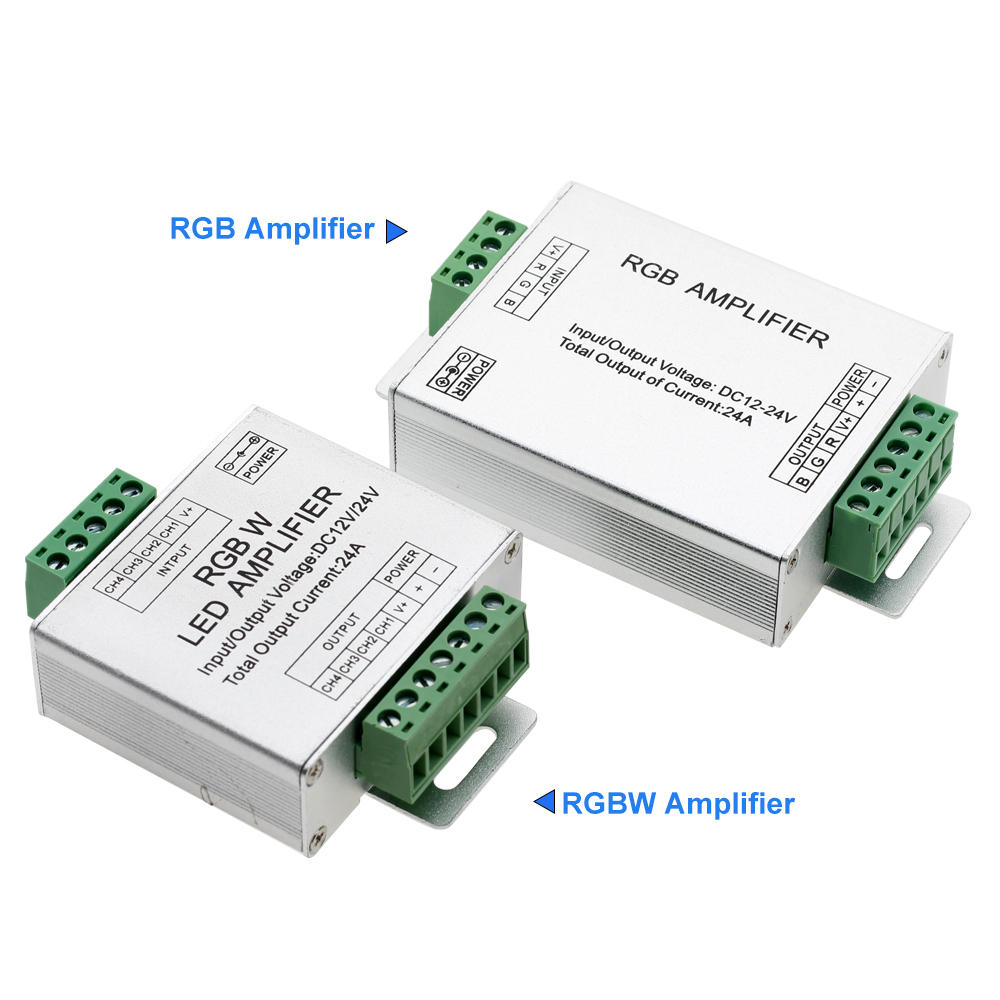 LED RGBW / RGB Amplifier DC12 - 24V 24A Output for RGBW / RGB LED Strip Power Repeater Console Controller