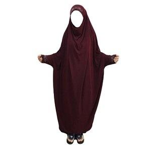 Image 4 - המוסלמית הבורקה העבאיה נשים חיג אב תפילת שמלת האיסלאם תקורה ורקה ניקאב ארוך Khimar גלימת קפטן המזרח התיכון הערבי בגדים