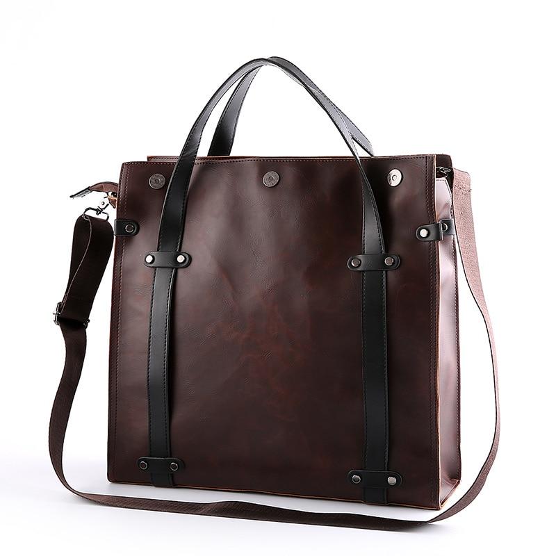 Casual Style Men Briefcase Bag Document Case PU Office Handbag Business Bag Totes Shoulder Bag Top Designer  Messenger Bags