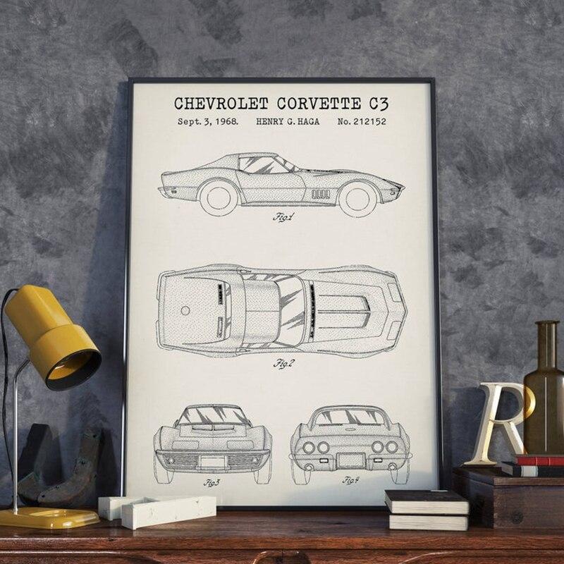 Impresiones de Arte de coche americano Corvette C3, póster de patente de coche de carreras, pintura en lienzo, decoración de pared para habitación de niño