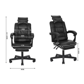 Gaming Chair With Footrest Adjustable Backrest Reclining Leather Office Chair Comfortable Swivel Ergonomic Chair Furniture 6