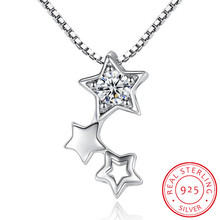 925 Sterling Silver Dazzling Cubic Zirconia Star Pendant Necklace For Women Choker Wedding Jewelry S-N456