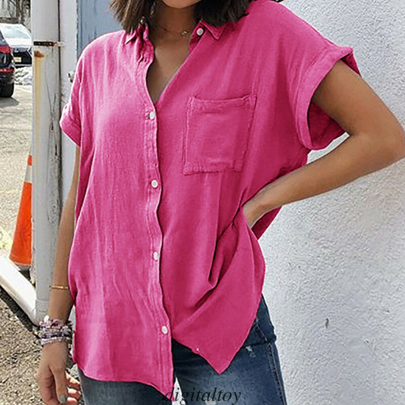 Women Loose Casual Summer Solid Short Sleeves Plus Size Tops T-Shirt Blouse Hot