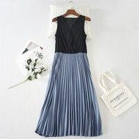 V Neck Cross Lace Pleated Dress Elastic Waist Long Slip Dress Big Hem Underskirt Sleeveless Inner Dress Autumn and Winter Women