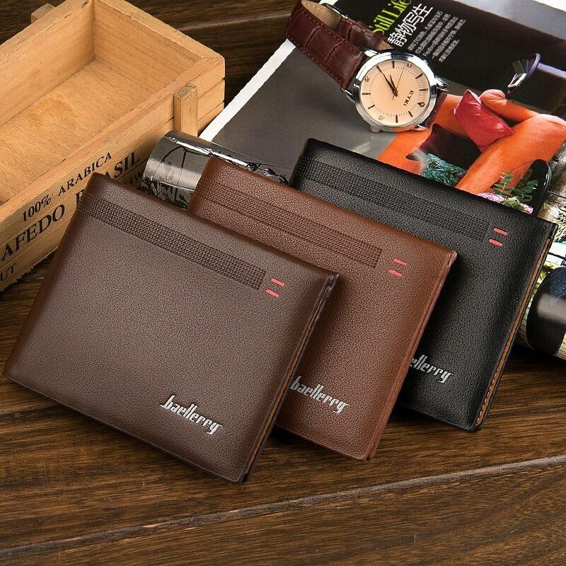 Men PU Leather Wallet Brand Luxury Short Slim Vintage Male Purse Money Bag Credit Card Holder Dollar Portomonee Carteria
