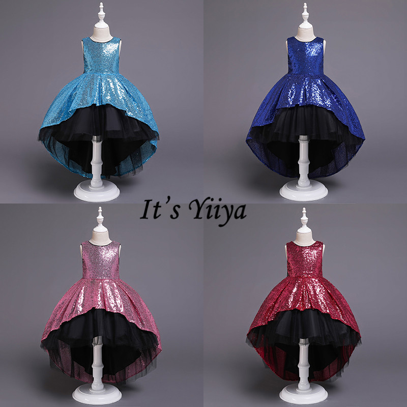 It's YiiYa Flower Girl Dresses 5 Colors Sleeveless Fashion O-Neck Court Train Kids Party Evening Dress Girls Pageant Dresses 751