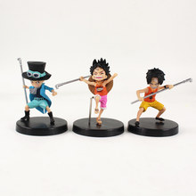 ¡3 unids/set Anime una pieza tres hermanos Luffy Sabo Ace DE LA INFANCIA Ver! PVC MODELO DE figura de acción de juguete