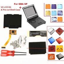 V2 ekran IPS LCD zestawy dla GBA SP podświetlenie LCD ekran 5 poziomów jasności V2 ekran dla GBA SP konsoli i wstępnie cięte Shell case