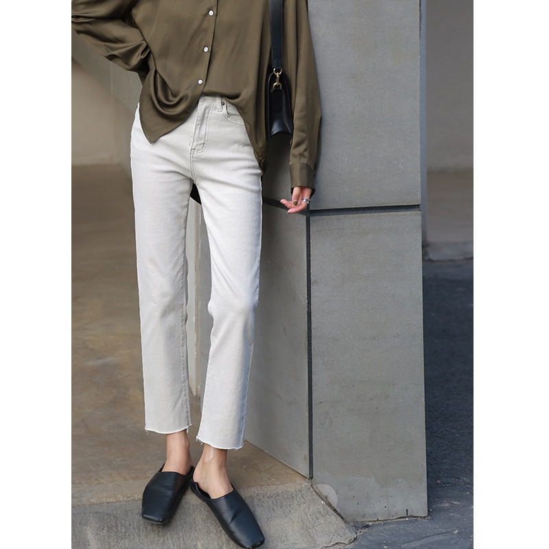 2019 Winter High Waisted Jeans Ankle-Length Pants  Straight  Casual  Zipper Fly  Distressed Jeans  Ripped Jeans For Women