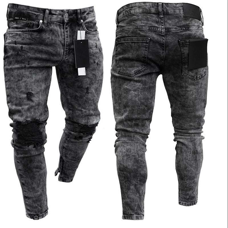 2020 Men's Hot High  Elastic Skinny Jeans Black Ripped Biker Jeans Men's Foot Mouths Zipper Jogging Casual Pencil Long Pants