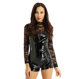 Женское блестящее кожаное боди, прозрачный кружевной латексный комбинезон, Babydoll, трико, боди, женский сексуальный клубный костюм