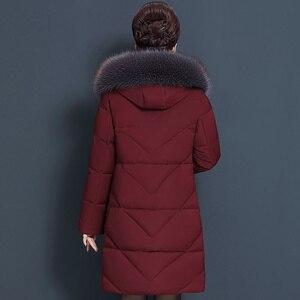 Image 5 - Veste dhiver pour femmes, manteau à capuche pour maman, grande taille 7XL 8XL, Parka épais en coton, manteaux chauds et longs, C5865