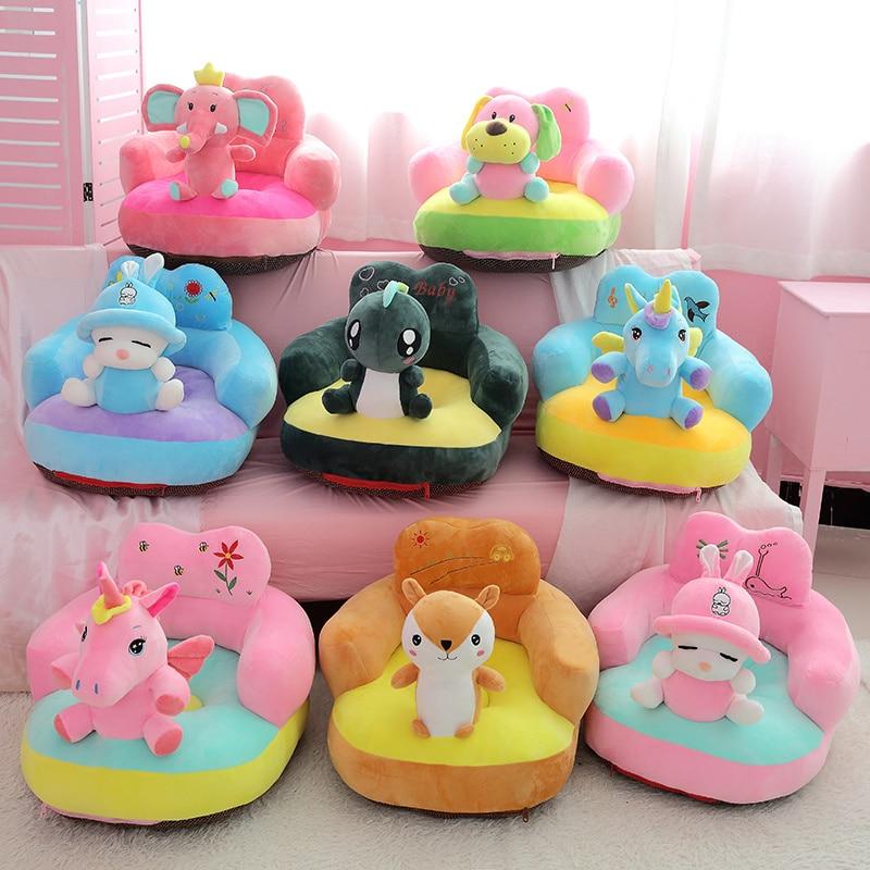 Dessin animé belle licorne éléphant pingouin chien enfants canapé chaise en peluche jouets siège bébé nid lit de couchage adulte oreiller en peluche coussin