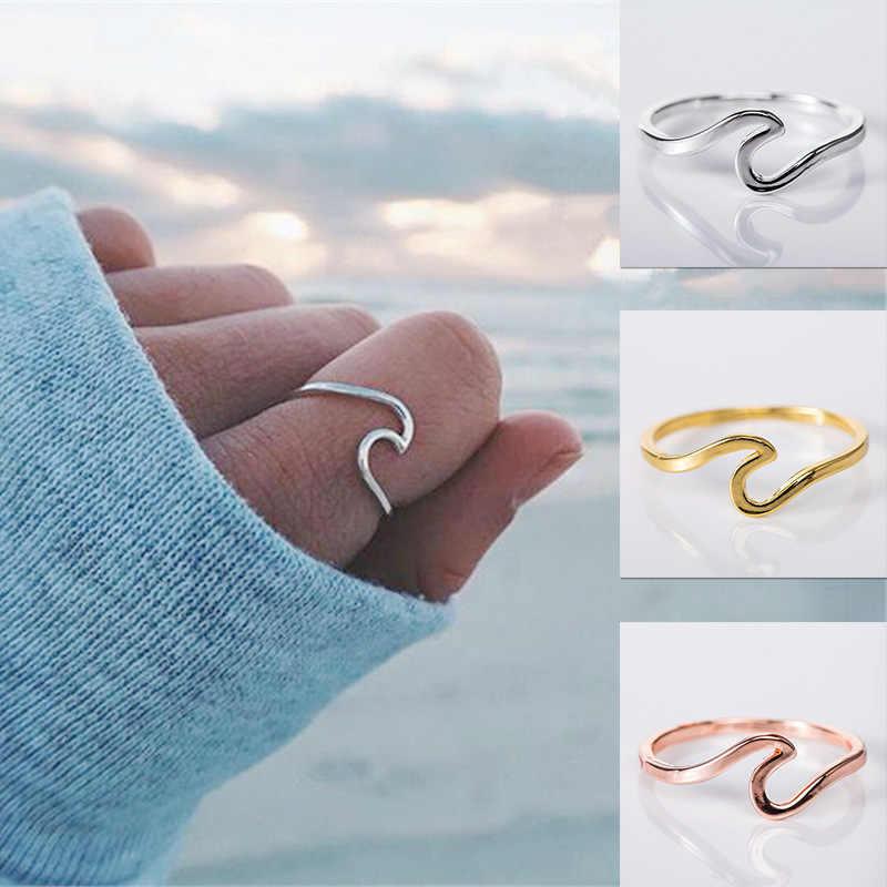 Moda prosta konstrukcja fala morska pierścienie Ocean Surf pierścionek ze stopu różowe złoto kolor srebrny biżuteria na palce pierścienie dla kobiet Surfer prezent