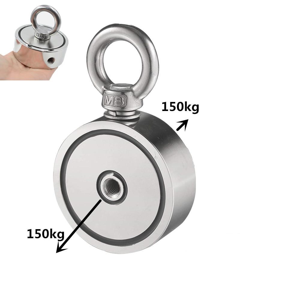 Мощный неодимовый магнит с кольцом, двусторонний магнит, диаметр 48-74х28 мм, для подъема предметов со дна водоема