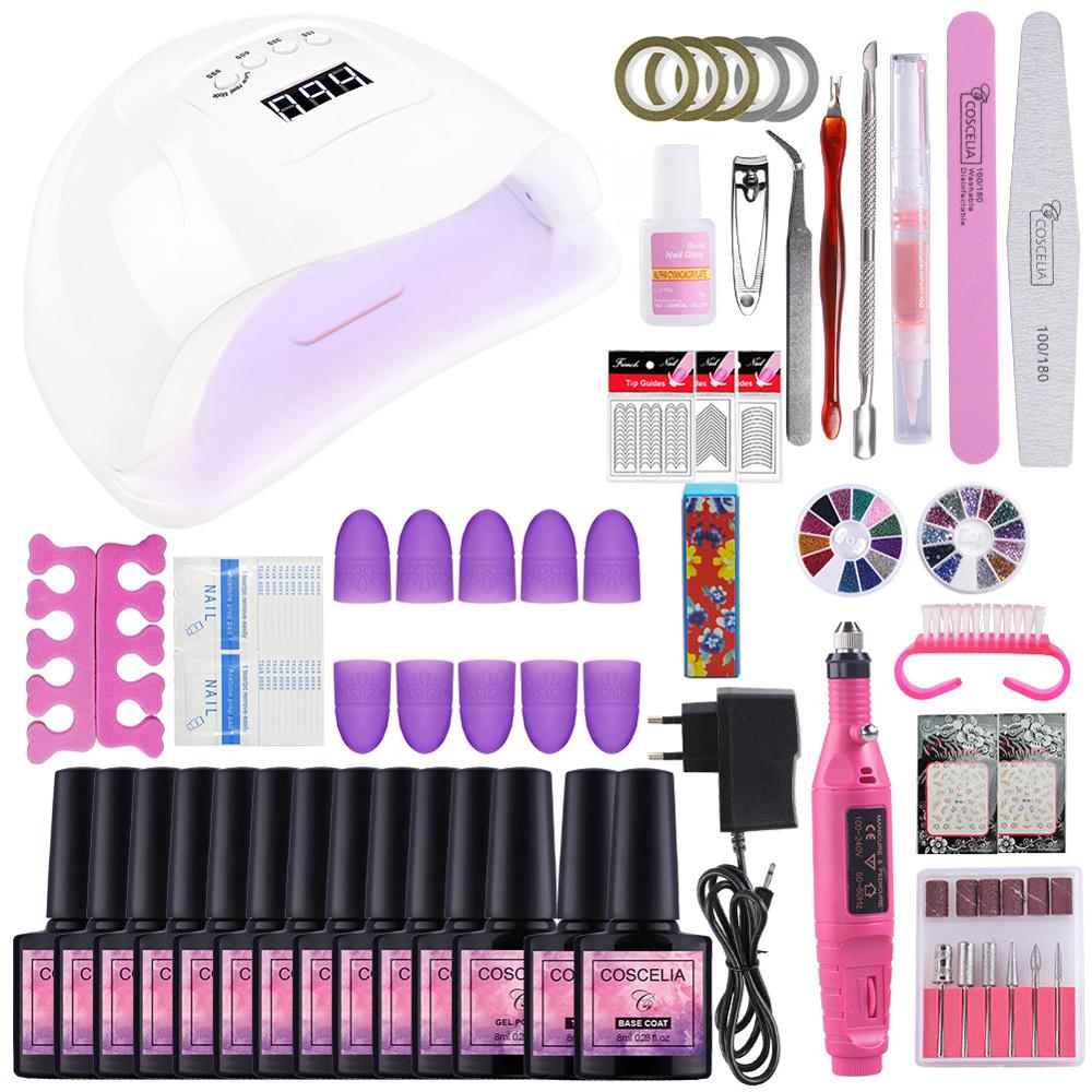 72W UV Lamp Manicure Machine Art Tools Set Nail Varnish Gel Polish 6/10/12pc UV Gel Nail Polish Top Base Varnish Semi Permanant