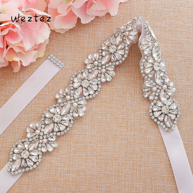 Silver Big Size Wedding Belt Crystal Flower Bridal Belt Rhinestone Bridal Sash For Wedding Long Dresses A193S