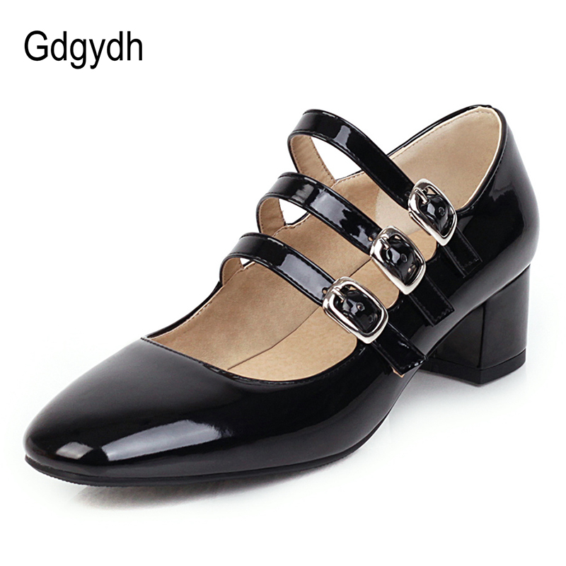Gdgydh Brand Designer Ladies Shoes Big Sizes Square Toe Mary Janes Women Office Shoes Pumps Mid Heel Patent Leather Spring 2020