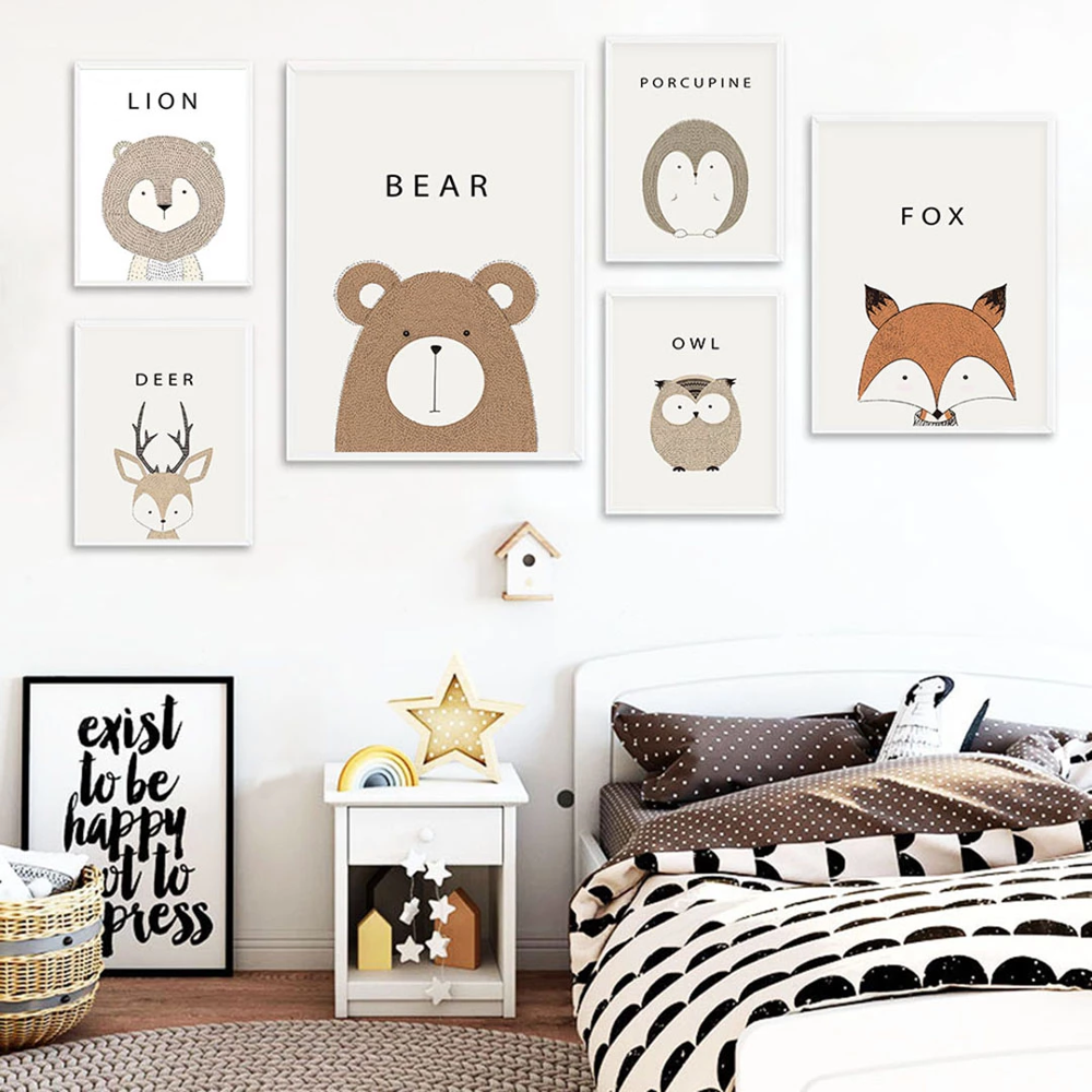 Cartoon Animal Fox Bear Nursery Toddler POP Wall Art Canvas Paintings Poster Prints Birthday Gift Pictures Baby Room Decorative