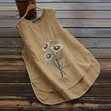 Tunic Tops Shirt Sleeveless Blouse Floral ZANZEA Summer Women Cotton Linen Female O-Neck
