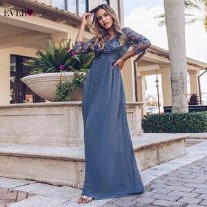 Image 1 - אי פעם די שמלות נשף ארוך 2020 תחרה אפליקציות אונליין שיפון אלגנטי ארוך שרוול חורף סתיו לנשף שמלות למסיבת חתונה
