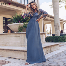 Ever Pretty Prom Dresses Long 2020 Lace Appliques A line Chiffon Elegant Long Sleeve Winter Autumn Prom Gowns for Wedding Party