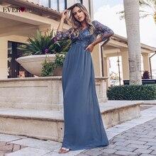Kiedykolwiek ładne suknie balowe długie 2020 koronkowe aplikacje A line szyfonowa elegancka, długa rękaw zimowa jesień suknie na bal maturalny na wesele