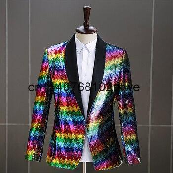 Fashion temperament slim fit men's performance suit host MC annual meeting colorful men's stage dress 1