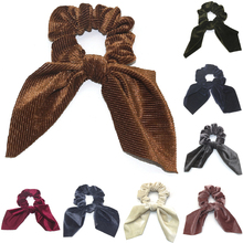 Cute Girl Hair Rope Velvet Scrunchies Bowknot Elastic Bunny Ears Bands for Women Bow Ties Ponytail Holder Accessories