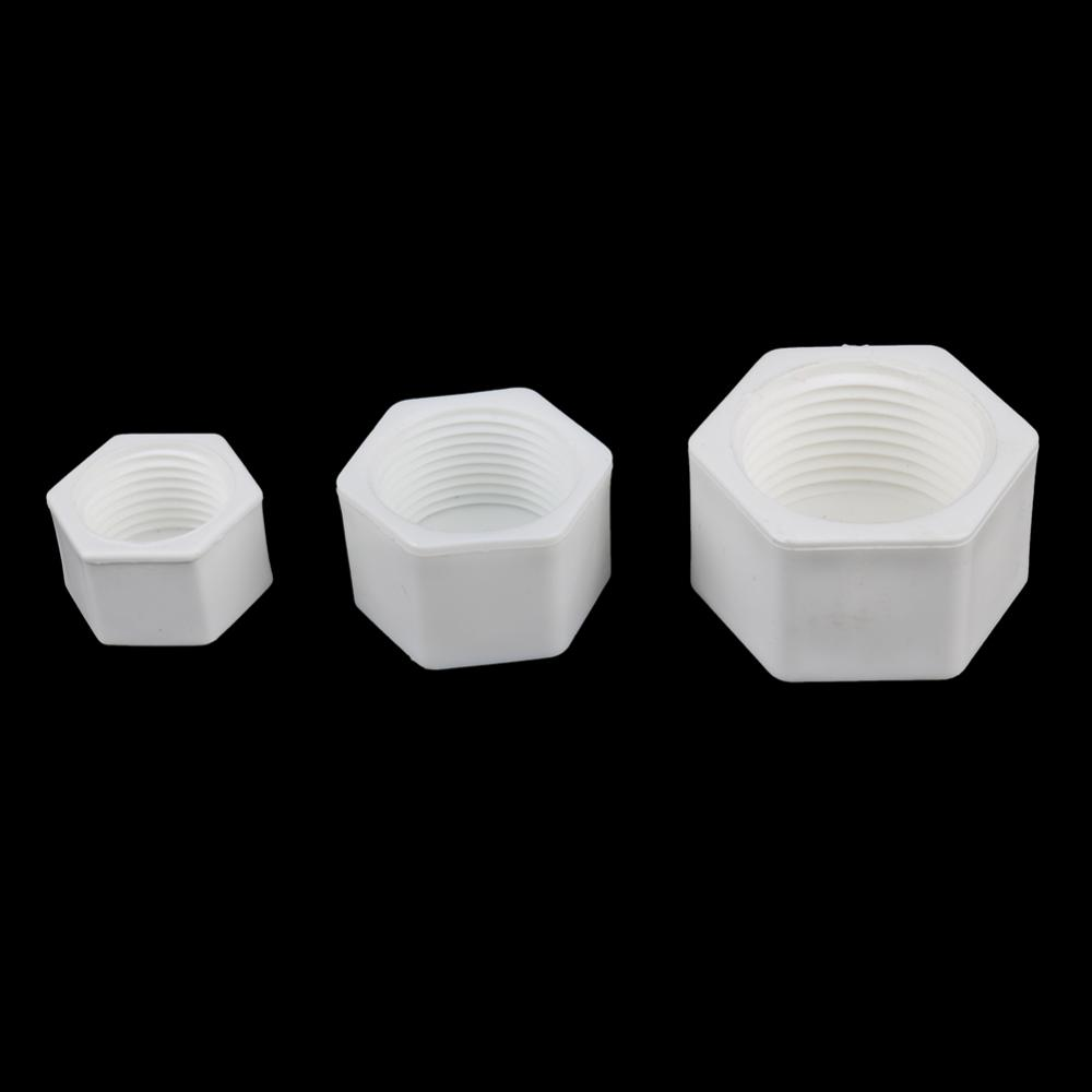 Plastic 1/2'' 3/4'' 1'' Female Thread End Plug Connector Plumbing Pipe Hexagon Shaped Blocked Caps PVC Tube Sealing Fittings