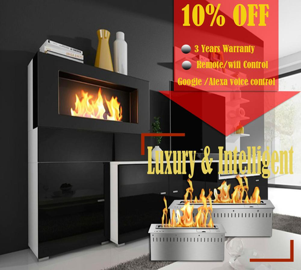 Inno Living Fire 36 Inch Indoor Insert Remote Fireplace Stainless Steel Smart Ethanol Burner