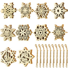 цена на 50 Pieces Unfinished Wood Snowflake Ornaments Christmas Wooden Snowflakes Embellishments Xmas Tree Hanging Decoration with Draws