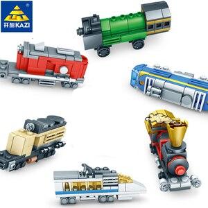 KAZI 354 шт., набор строительных блоков с городским поездом, рельсы, развивающие игрушки для детей