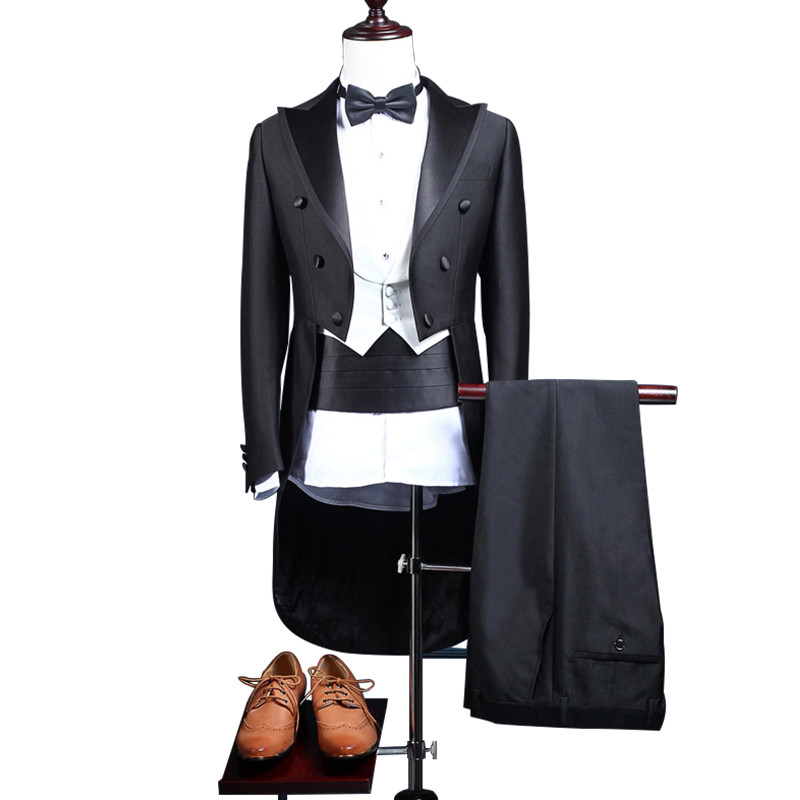 Dress Classic Men's Classic Black Shiny Lapel Tailcoat  Wedding Groom Stage Performance For Singer Two Piece Costume Dress C