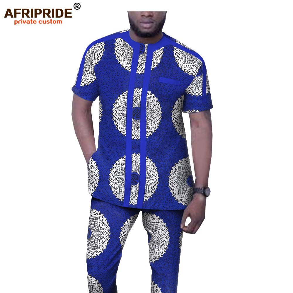 African Clothing For Men Short Sleeve Dashiki Tops And Pants 2 Piece Set Suit Ankara Clothes Wax Attire AFRIPRIDE A1916045